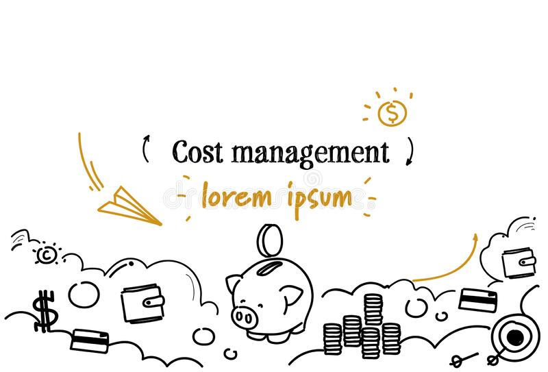 Le croquis de concept de gestion de coût d'analyse financière gribouillent l'espace d'isolement horizontal de copie illustration de vecteur