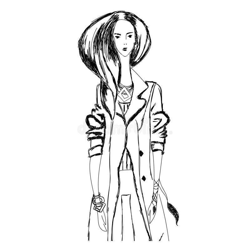 Le croquis de la jeune femme de mode dans le style de boho pour des T-shirts impriment, cas de téléphone, affiches, copie de sac, illustration stock