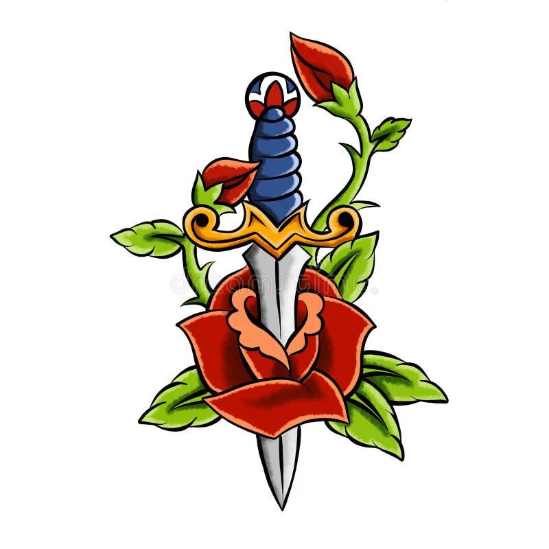 Le croquis de tatouage avec le poignard et a monté Illustration tirée par la main convertie en illustration de vecteur