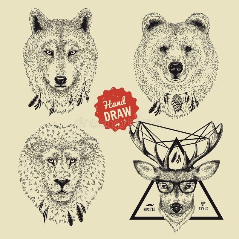 Le croquis de vecteur des têtes d'animal sauvage soutiennent, loup, le lion, cerf commun dans le style de hippie illustration libre de droits