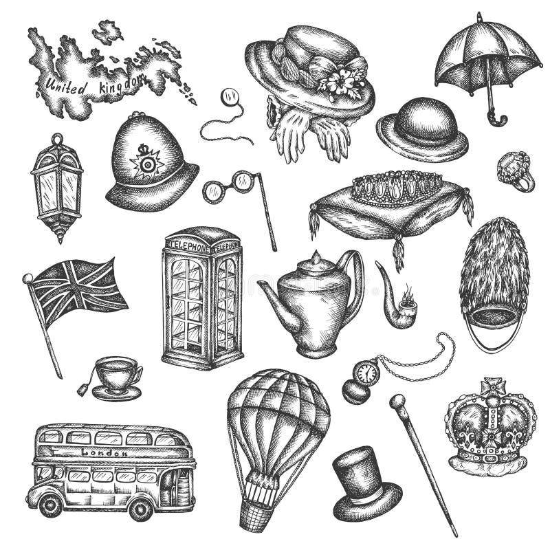 Le croquis des symboles de Londres objecte symbolisant l'illustration tirée par la main de vecteur de l'Angleterre des éléments B illustration stock