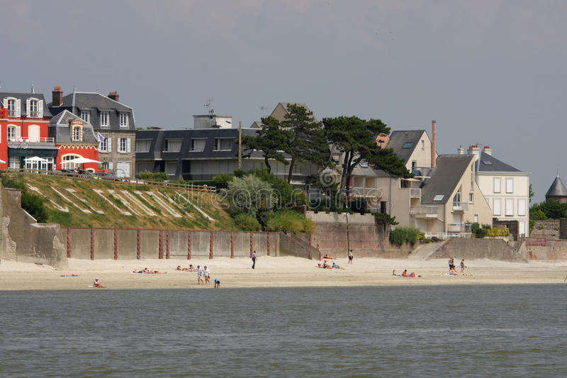 Le Crotoy in France. Beach of Le Crotoy in Somme bay,Picardy region of France royalty free stock image