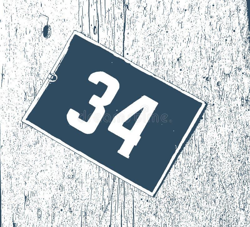 Le cru a émaillé la rue le numéro 34, nombre de pièce, plaque minéralogique de signe d'hôtel photographie stock