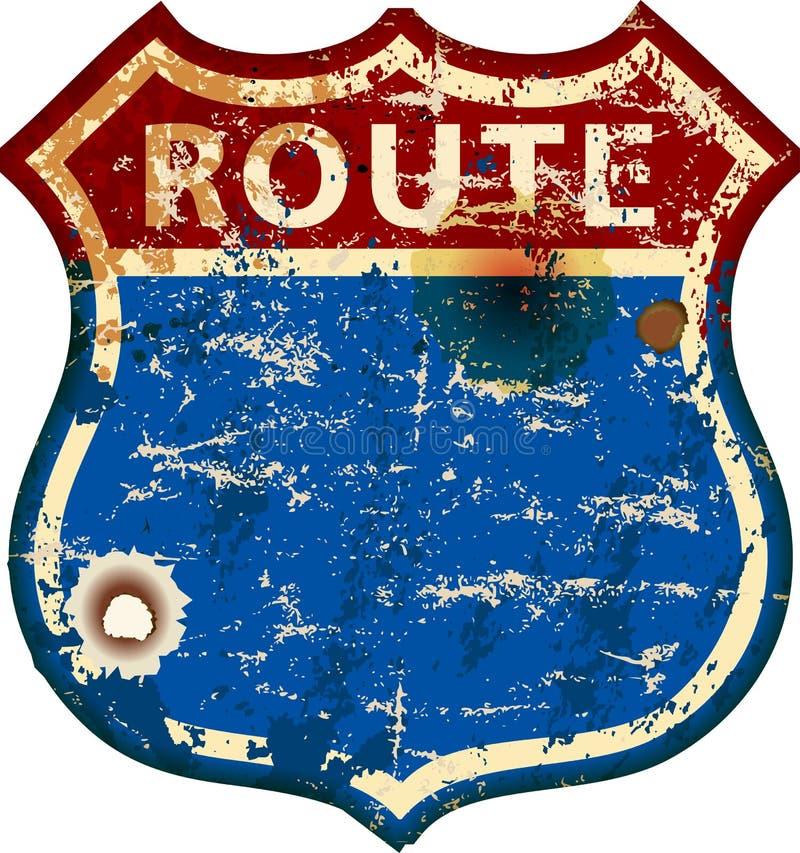 Le cru a battu le panneau routier vide de l'itinéraire 66, rétro illustration sale de vecteur illustration libre de droits