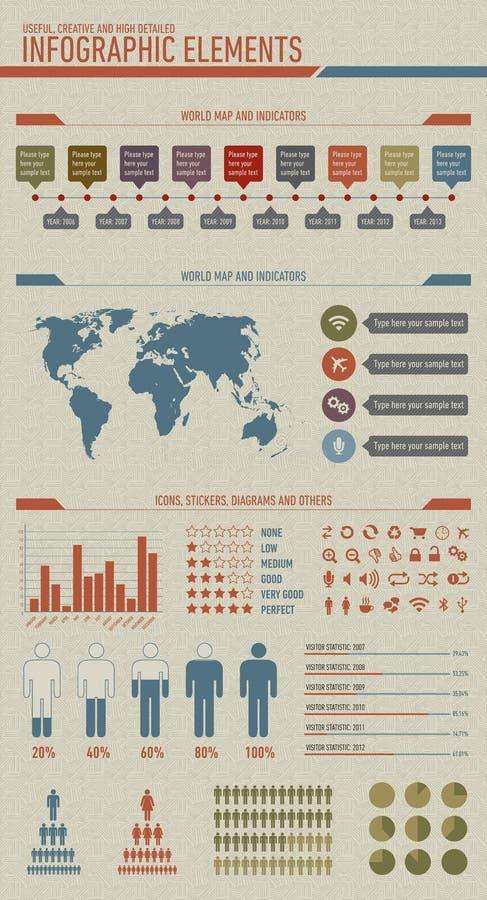 Le cru a dénommé les éléments infographic illustration de vecteur