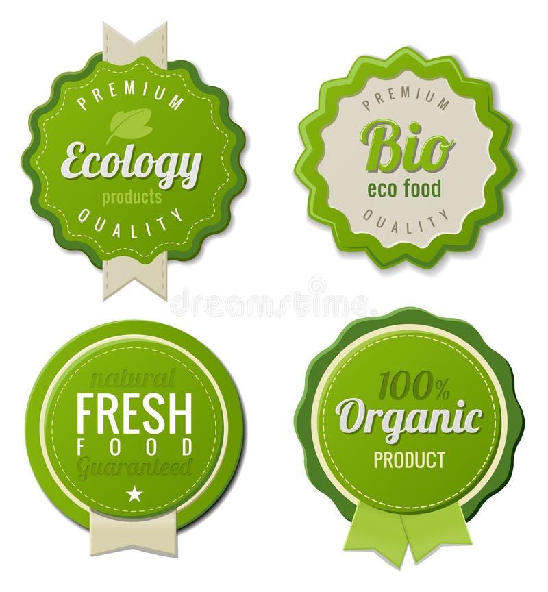 Le cru d'Eco étiquette le bio positionnement de descripteur illustration stock
