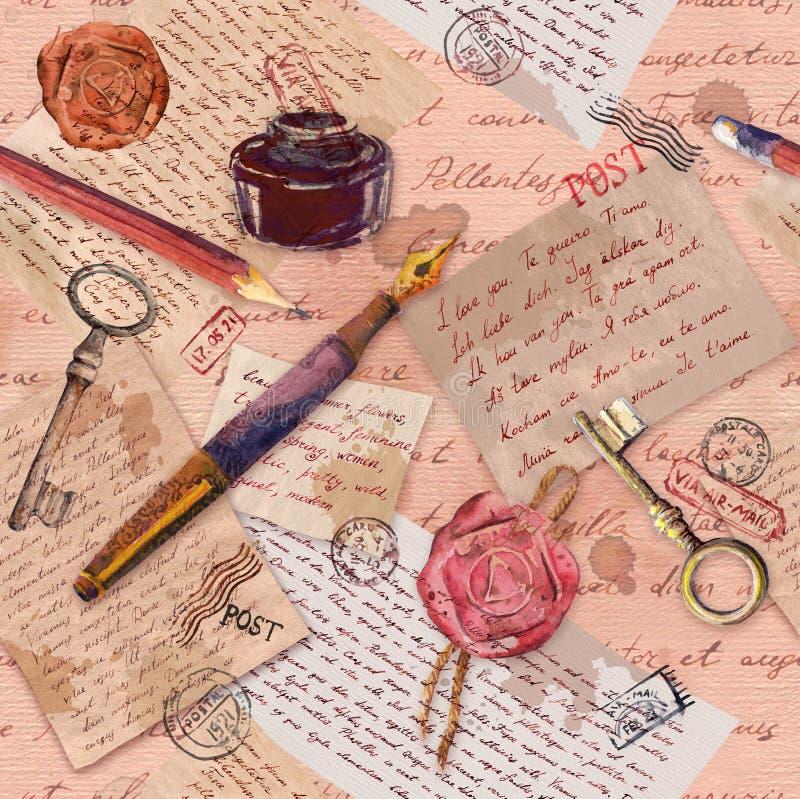 Le cru a vieilli le papier avec les notes écrites par main, clés, outils d'écriture, timbres postaux R?p?tition de la configurati image stock