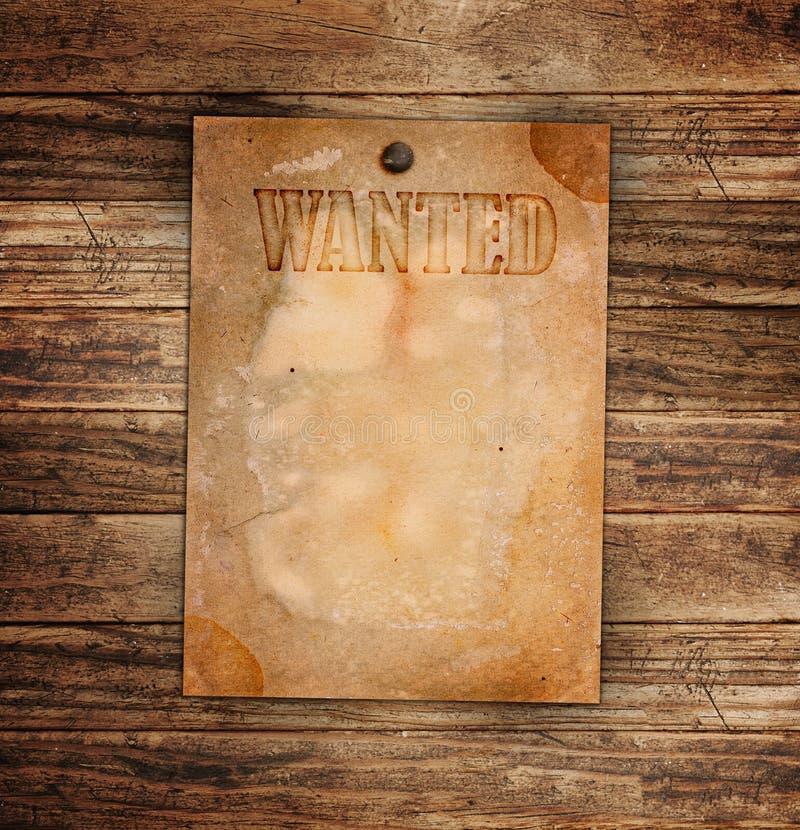 Le cru a voulu l'affiche sur un en bois images libres de droits