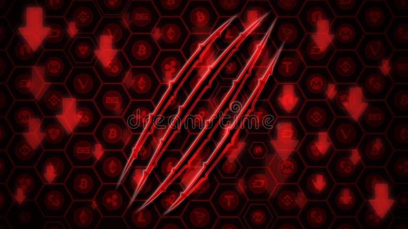 Le crypto marché de changes descend le concept Griffe d'ours rougeoyante sur les flèches et le fond rouges de BitCoin et d'AltCoi illustration libre de droits