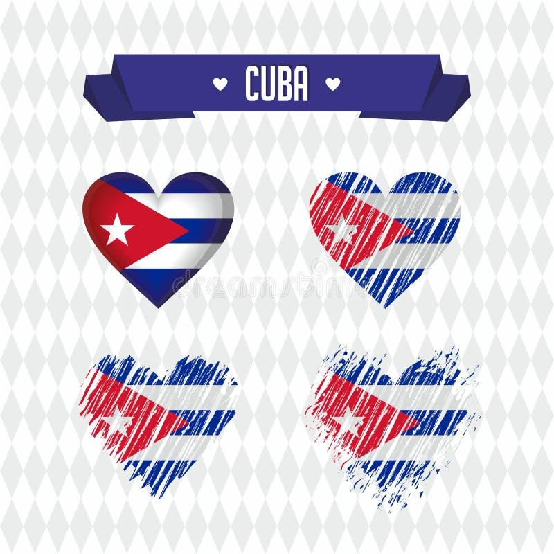 Le Cuba avec amour Le coeur brisé de vecteur de conception avec le drapeau à l'intérieur illustration stock