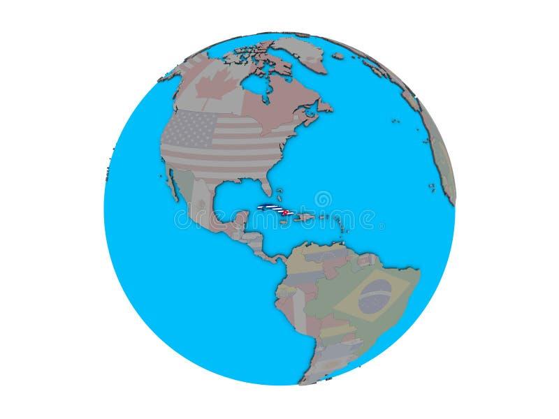 Le Cuba avec le drapeau sur le globe d'isolement illustration stock