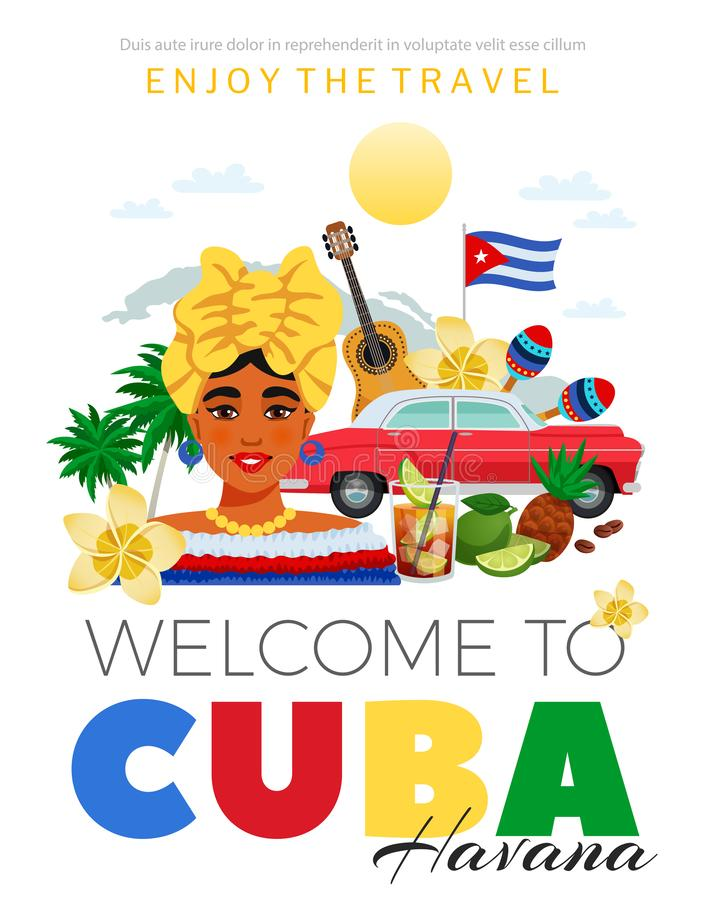 Le Cuba et la Havana Travel Poster illustration stock
