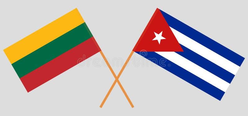 Le Cuba et la Lithuanie Les drapeaux cubains et lithuaniens Couleurs officielles Proportion correcte Vecteur illustration libre de droits
