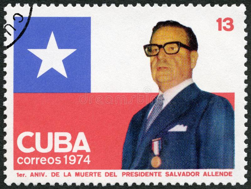 Le CUBA - 1974 : expositions Salvador Guillermo Allende Gossens 1908-1973, président du Chili photo libre de droits