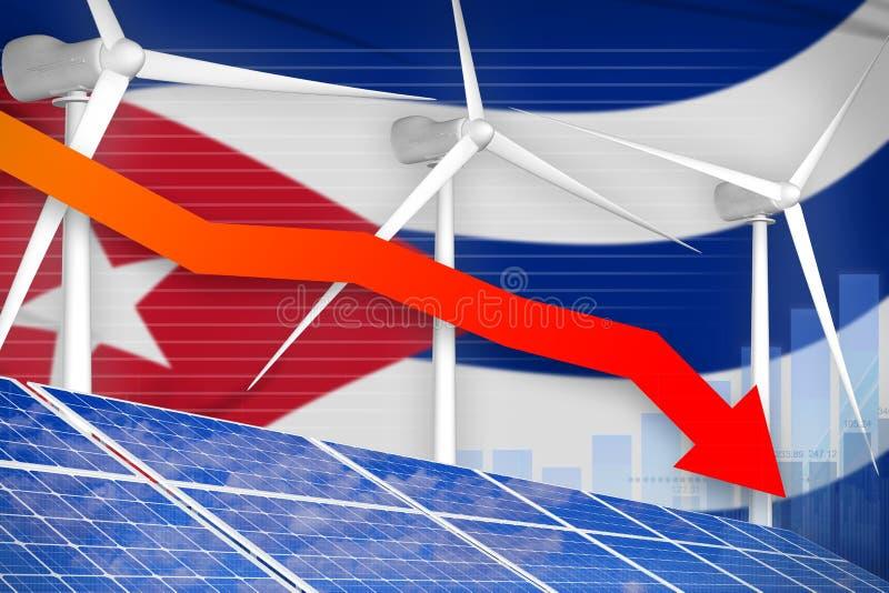 Le Cuba solaire et l'énergie éolienne abaissant le diagramme, flèche en bas - d'illustration industrielle alternative d'énergie n illustration stock