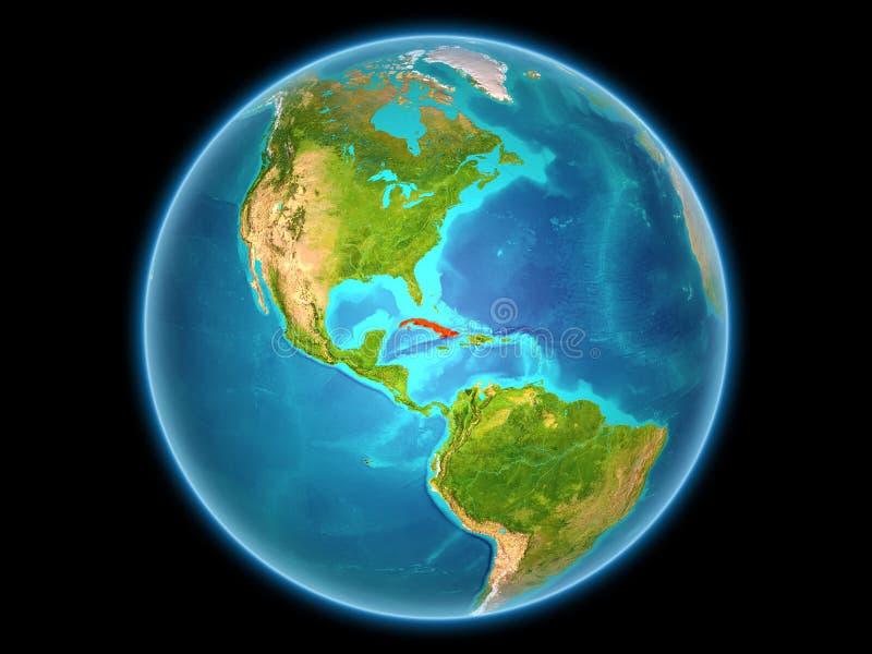 Le Cuba sur terre de planète illustration stock