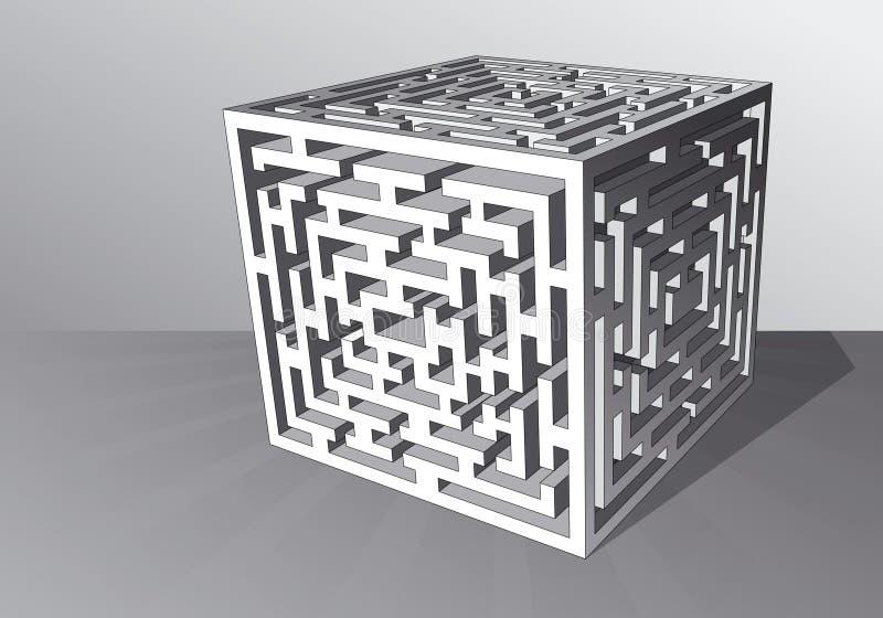 Le cube en labyrinthe illustration de vecteur
