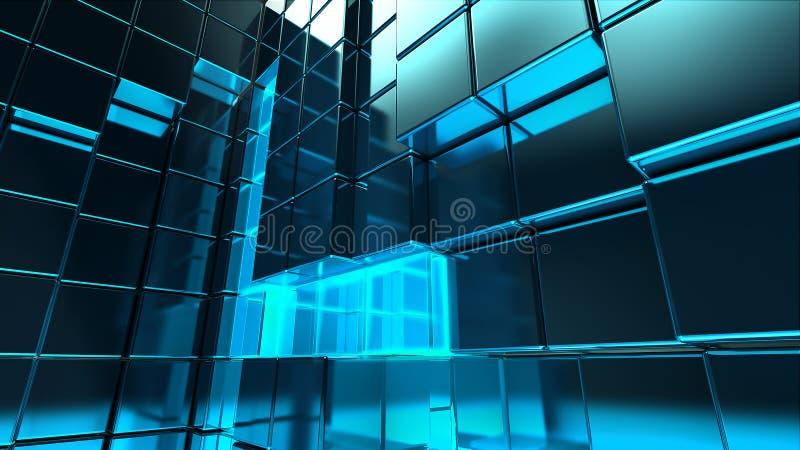 Le cube en métal a basé la construction illustration stock