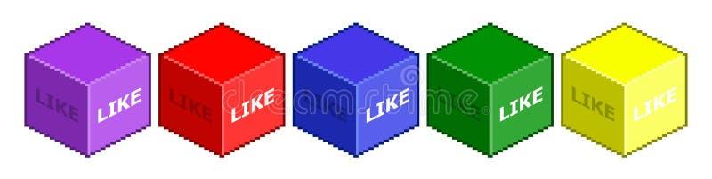 Le cube en pixel aiment le media social illustration de vecteur
