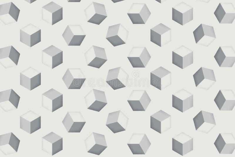 Le cube en répétition de fond d'illustrateur d'art de Digital est employé comme fond d'image pour peindre, support publicitaire illustration libre de droits