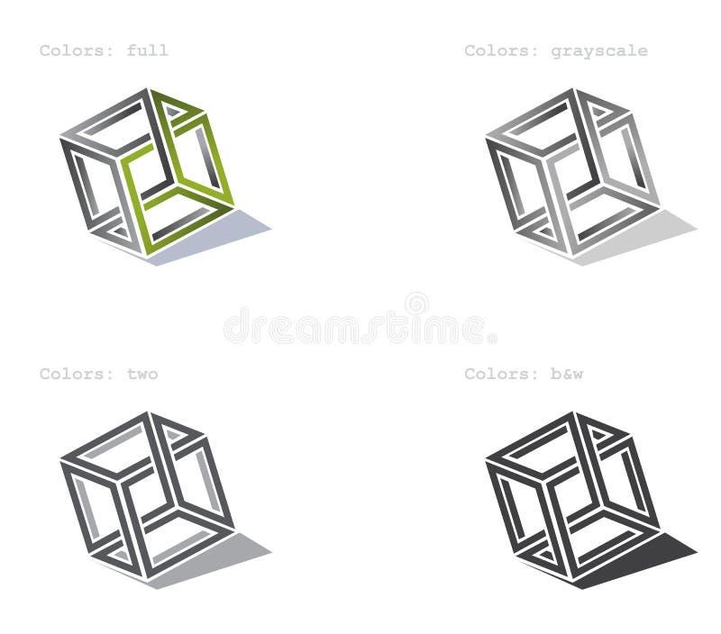 Le cube en vecteur métamorphosent pour le logotype photos libres de droits