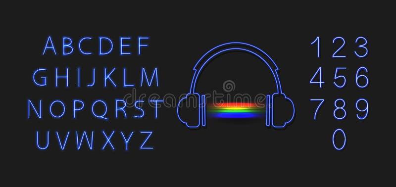 Le cuffie al neon di vettore con i numeri blu astratti del suono e dell'ardore di musica dell'arcobaleno fonte, lettera ed hanno  royalty illustrazione gratis
