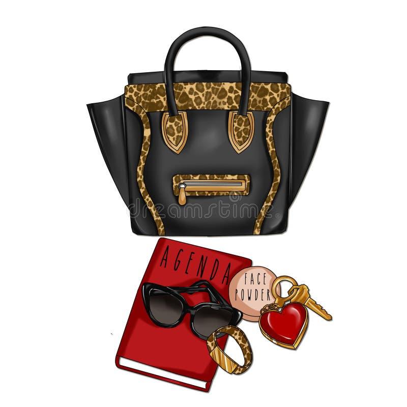 Le cuir et l'animal noirs impriment avec l'ordre du jour, les lunettes de soleil, la poudre de visage et les clés