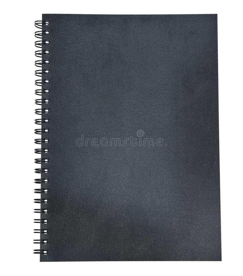 Le cuir noir de la couverture de livre de journal intime a isolé le blanc photos stock