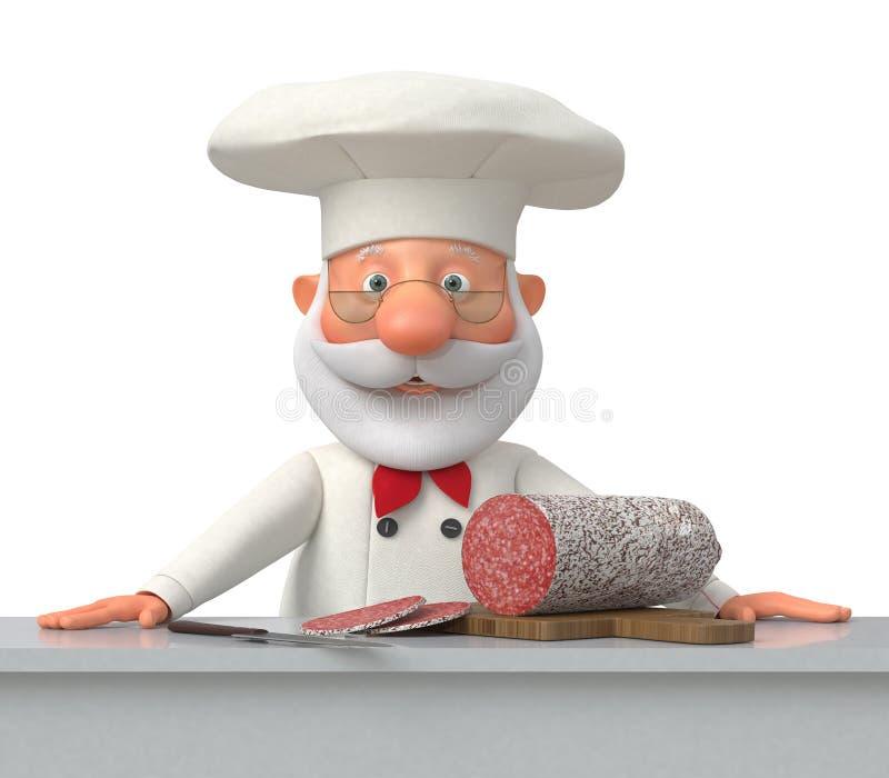 Le cuisinier dans la cuisine avec la saucisse illustration de vecteur