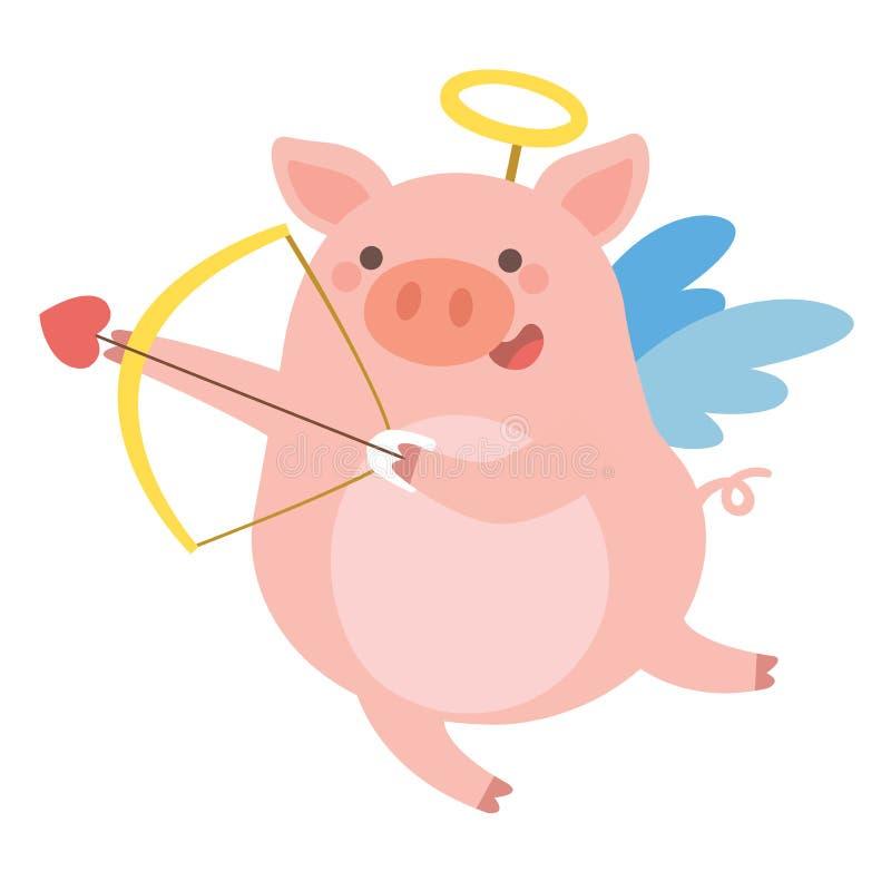 Le cupidon mignon de porc tire un arc illustration stock