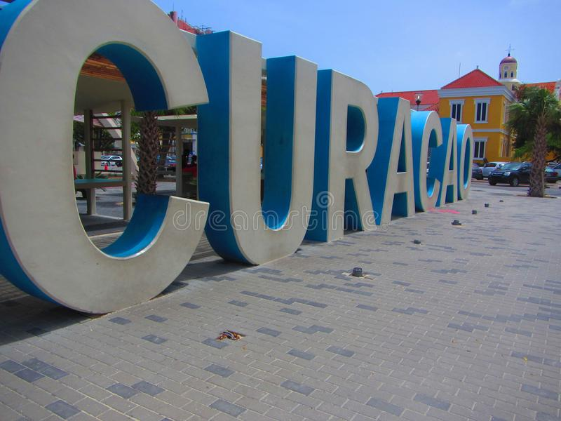 Le Curaçao signent Willemstad photos stock