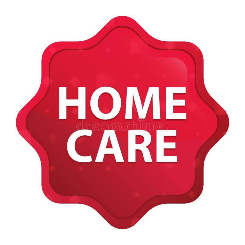Le cure domiciliari nebbiose sono aumentato bottone rosso dell'autoadesivo dello starburst illustrazione vettoriale