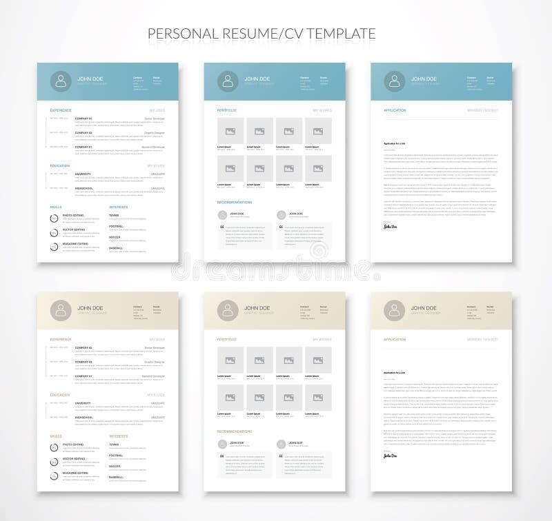 Le curriculum vitae et le résumé d'affaires personnelles dirigent deux couleurs illustration stock