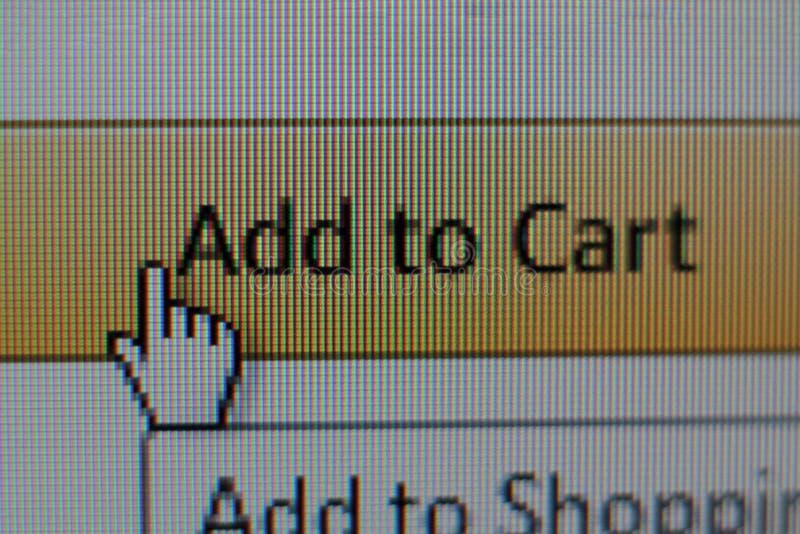 Le curseur de souris de main ajoutent au panier dessus le bouton image stock