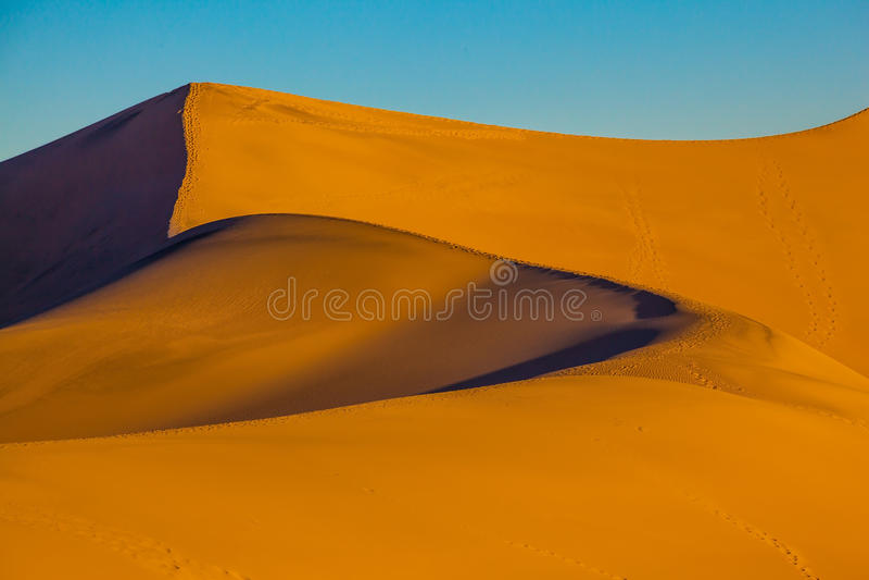 Le curve molli delle dune di sabbia arancio fotografia stock