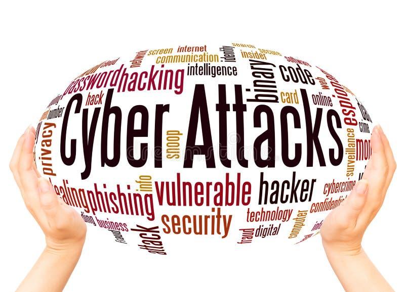 Le Cyber attaque le concept de sphère de main de nuage de mot illustration libre de droits