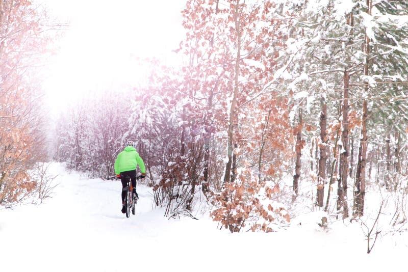 Le cycliste de cycliste de neige en vert monte le Bi de pays croisé de montagne de neige photo libre de droits