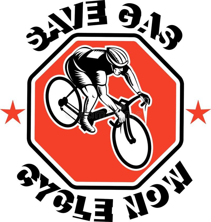Le cycliste emballant le vélo épargnent le gaz illustration libre de droits