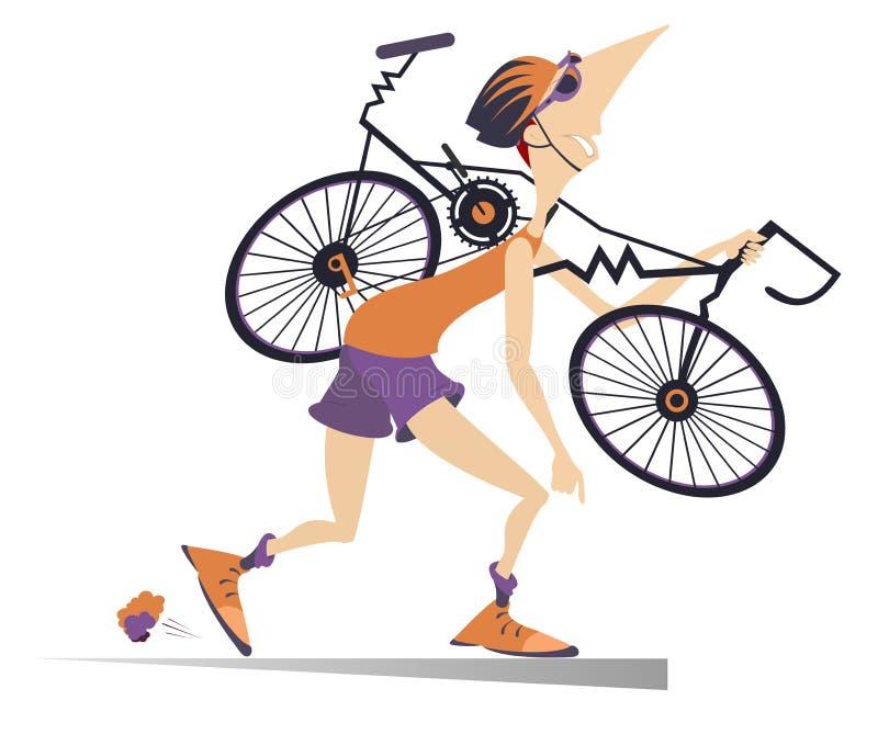Le cycliste fatigué avec un vélo cassé a isolé l'illustration illustration stock