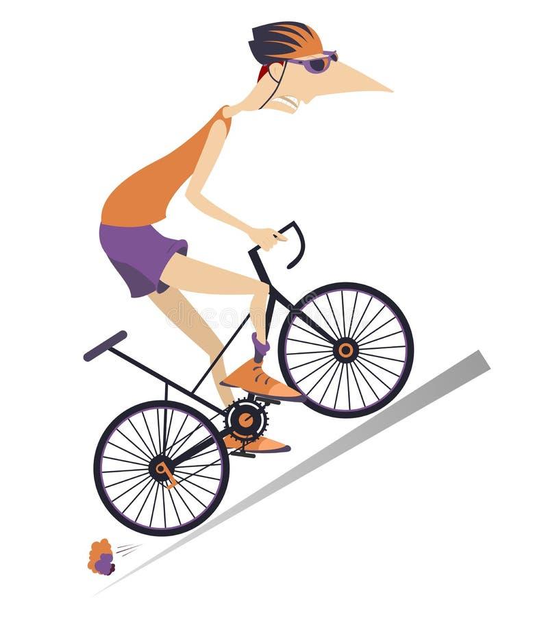 Le cycliste fatigué monte une illustration d'isolement par vélo illustration libre de droits