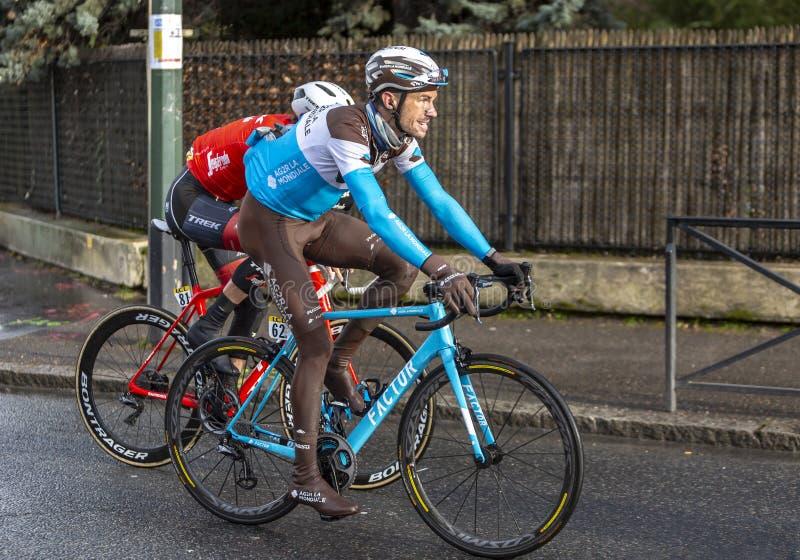 Le cycliste Mikael Cherel - 2018 Paris-gentil photo stock