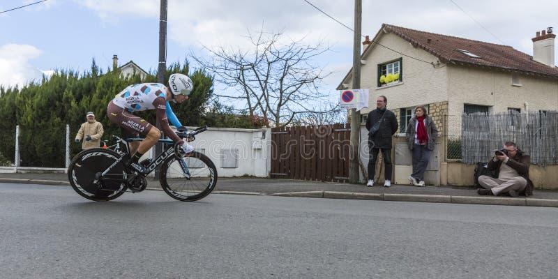 Le cycliste Mikael Cherel - 2016 Paris-gentil image libre de droits