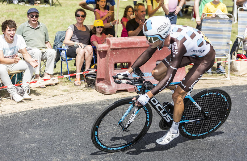 Le cycliste Mikael Cherel - Tour de France 2015 images libres de droits