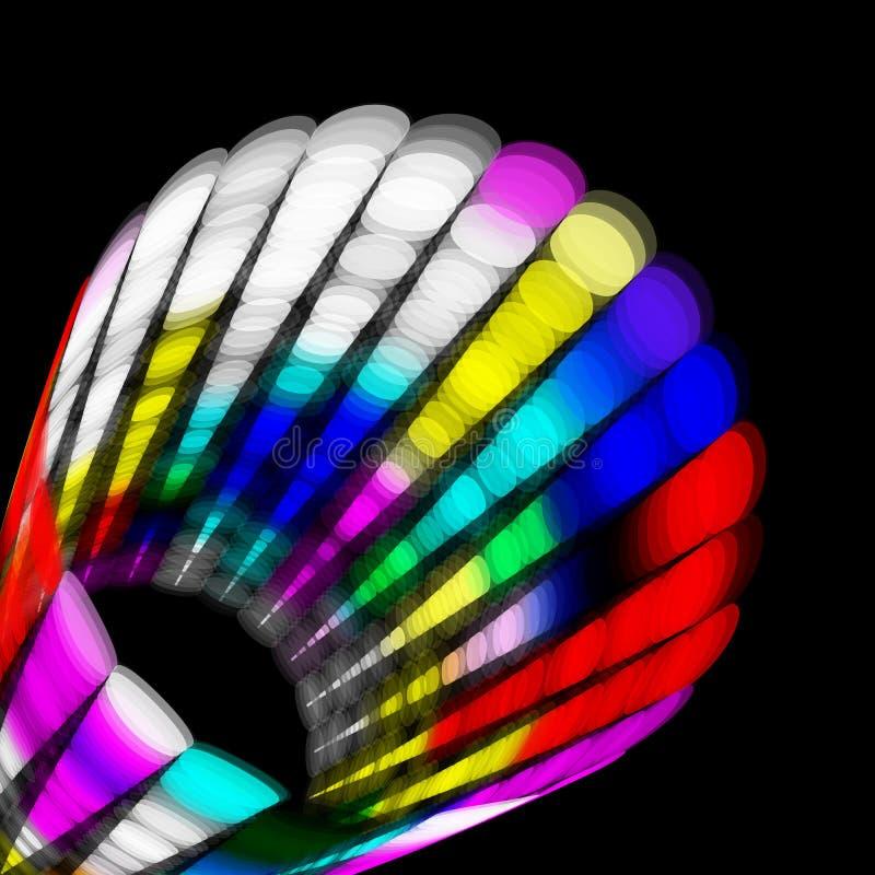 Le cylindre abstrait avec la couleur pointille le transparent aléatoire dans la colonne illustration libre de droits