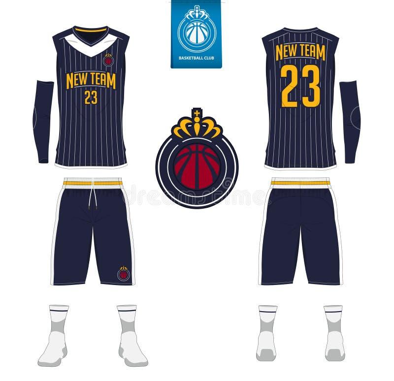 Le débardeur de basket-ball, shorts, cogne le calibre pour le club de basket-ball Uniforme avant et arrière de sport de vue Moque illustration libre de droits