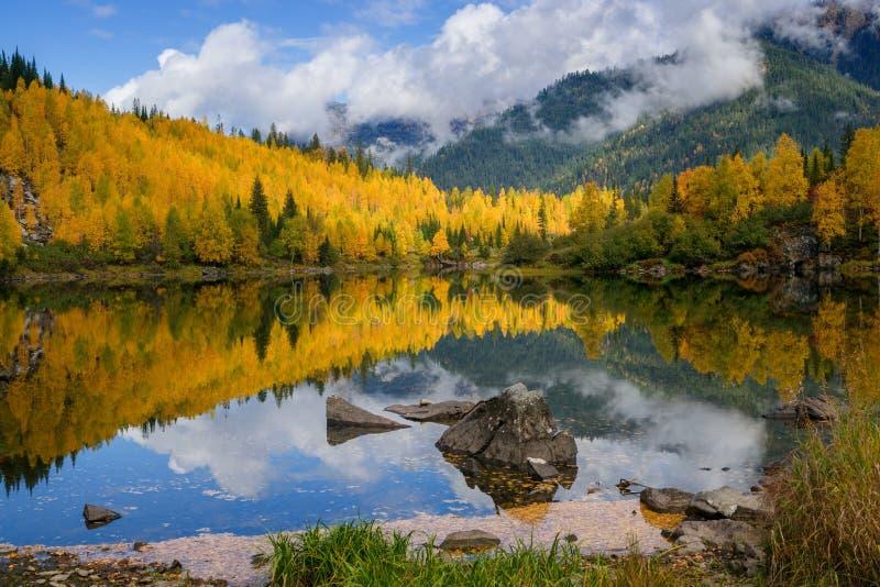 Le début de l'automne en montagnes image stock