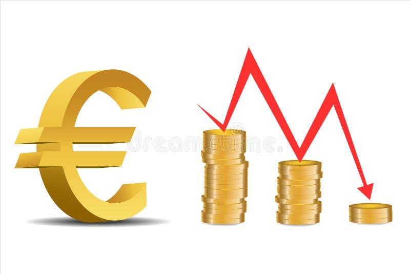 Le déclin de l'euro - Illustration illustration libre de droits