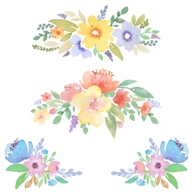 Le décor floral d'aquarelle pour des cartes et les invitations conçoivent illustration libre de droits