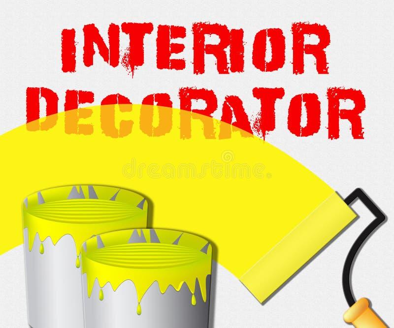 Le décorateur intérieur montre l'illustration à la maison du peintre 3d illustration libre de droits