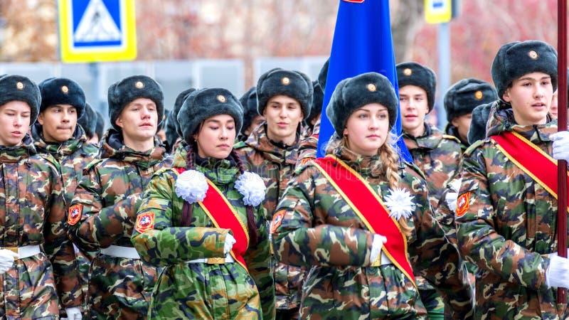 Le défilé de corps de cadet par la place image libre de droits